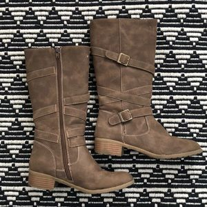 Rachel Brown Tan Buckle Zipper Boots Girls 4